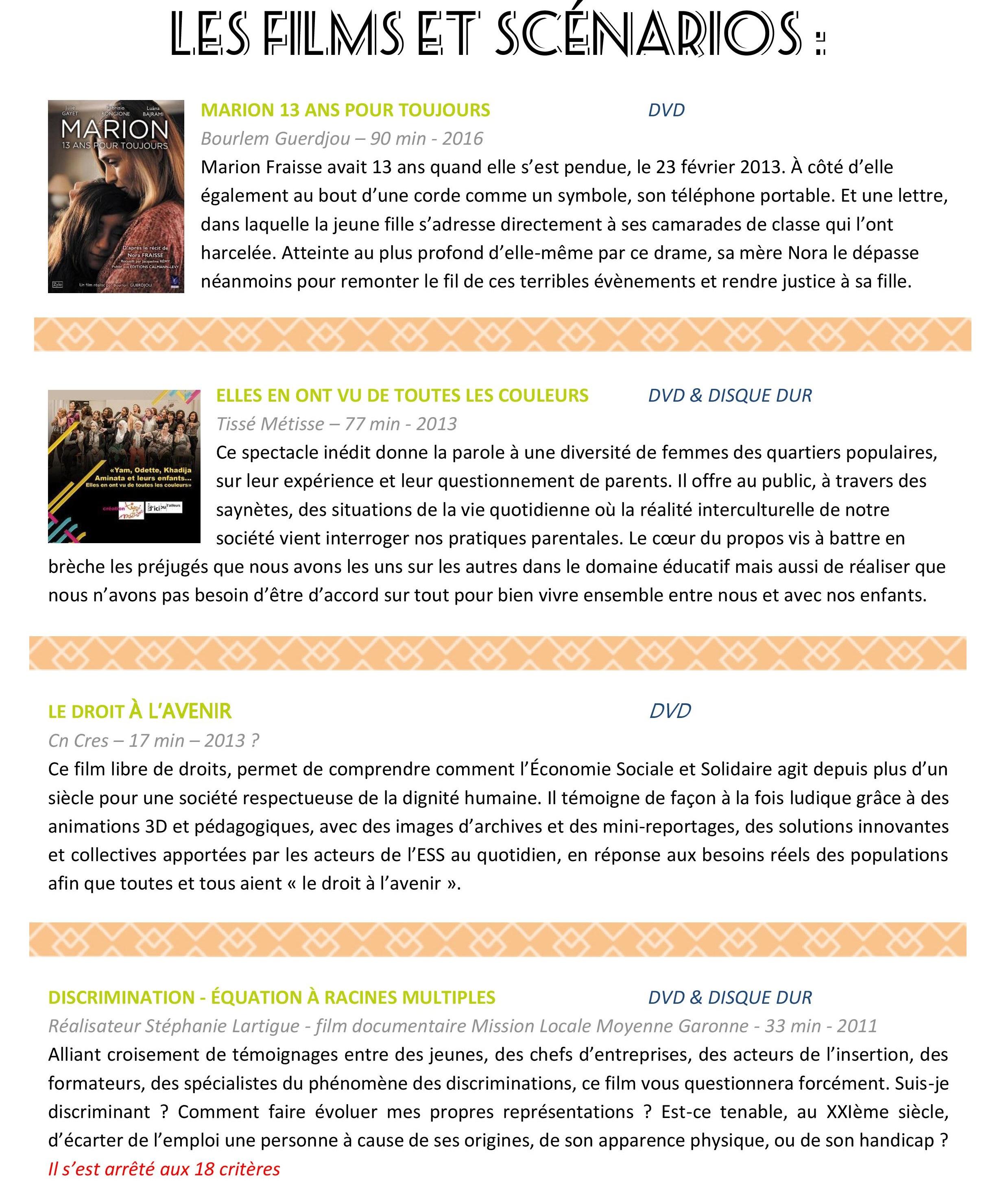Sensibilisation par la vidéo - Films & scénarios.